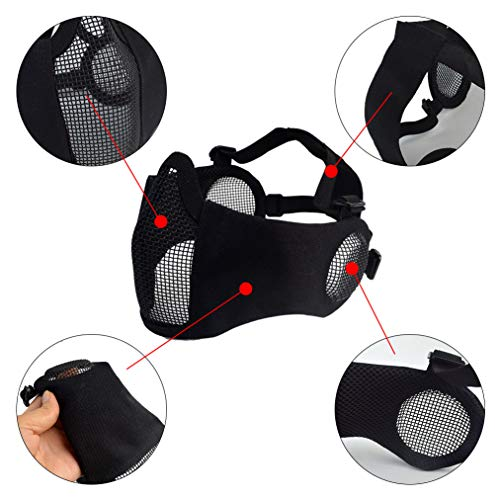 Topbuti Airsoft Mask 3 Topbuti Airsoft Mask Black Foldable Tactical Airsoft Mesh Mask with Ear Protection Half Face Lower Mask for Youth Adults Men Women