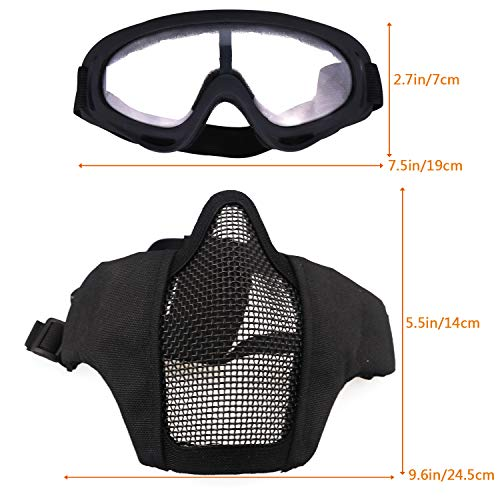 Aoutacc Airsoft Mask 2 Aoutacc Airsoft Half Face Mesh Mask and Goggles Set for CS/Hunting/Paintball/Shooting