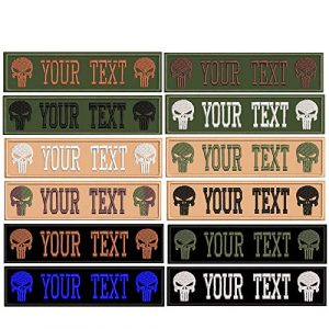 Graceful life Airsoft Patch 1 Custom Embroidery Personality Skull Name Patches, Badges,2 pcs Personalized Military Number Tag,5 x 1.25 inches tag Patches