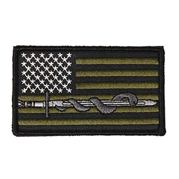 Lancer Tactical Airsoft Patch 1 Lancer Tactical Airsoft Sword and Snake U.S. Flag Morale Patch - OD