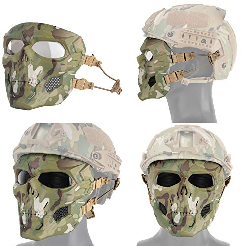 NINAT Airsoft Mask 6 NINAT Airsoft Masks Full Face Skull Tactical Mask with PC Lens Eye Protection for CS Survival Games BBS Gun Shooting Halloween Cosplay Movie Props Scary Masks