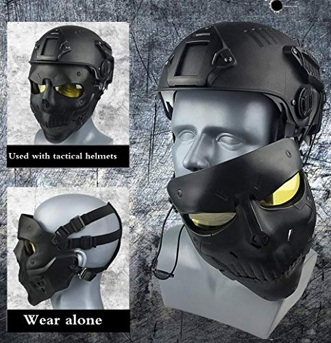 JFFCESTORE Airsoft Mask 2 JFFCESTORE Tactical Mask Anti-Fog Airsoft Paintball mask Protective Full Face Clear Lens Skull mask Dual Mode Wearing Design Adjustable Strap One Size fit Most