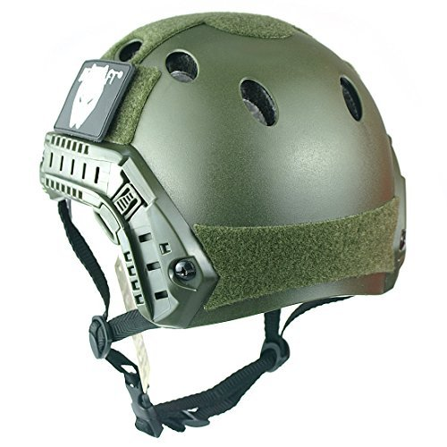 ATAIRSOFT Airsoft Helmet 3 ATAIRSOFT Breathable Tactical Airsoft Fast PJ Helmet w/Sliding Goggles OD Green