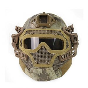 ActionUnion Airsoft Helmet 1 ActionUnion PJ Fast Tactical Helmet Airsoft Full Face Mask with Goggles Molle Mesh Breathable Eye Protection for Military CS Paintball Shooting Hunting Cycling Motorcycle Outdoor Sport-at