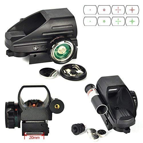 Sniper Airsoft Gun Sight 2 Sniper RD22LR Holographic Reflex Sight with 4 Reticles Red and Green Dot with Red Laser