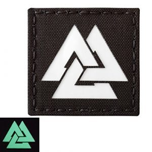 Tactical Freaky Airsoft Patch 1 Glow Dark Viking Valknut Norse 2x2 GITD Tactical Morale Fastener Patch
