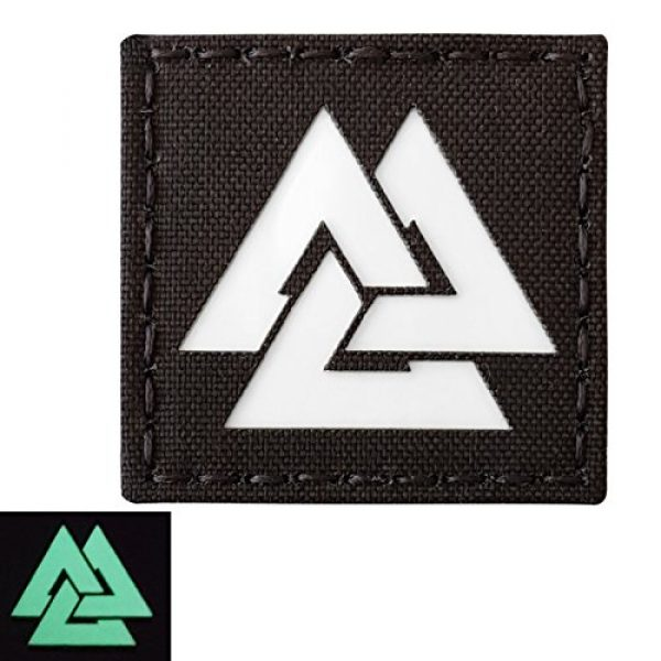 Tactical Freaky Airsoft Morale Patch 3 Glow Dark Viking Valknut Norse 2x2 GITD Tactical Morale Fastener Patch