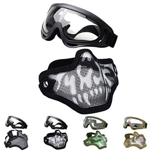 Outgeek Airsoft Mask 1 Outgeek Airsoft Half Face Mask Steel Mesh and Goggles Set