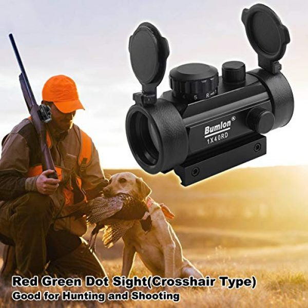Bumlon Airsoft Gun Sight 7 Bumlon Red Green Dot Sight Rifle Scope Reflex Holographic Optics Tactical Fits 11mm/ 20mm Rail with Flip up Lens Cover for Airsoft Gun