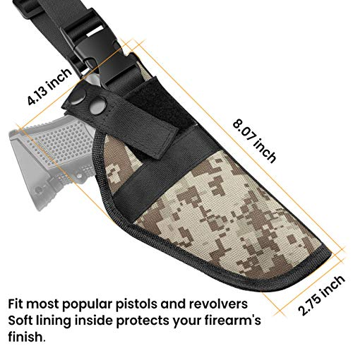Feyachi  6 Feyachi Universal Shoulder Holster with Dual Mag Pouch Camo Ambidextrous Gun Shoulder Fits Most Pistols & Revolvers for Men and Women