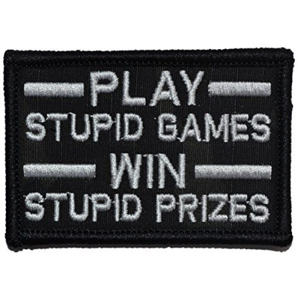 Tactical Gear Junkie Airsoft Patch 1 Play Stupid Games, Win Stupid Prizes 2x3 Morale Patch - Multiple Color Options (Multicam Black)
