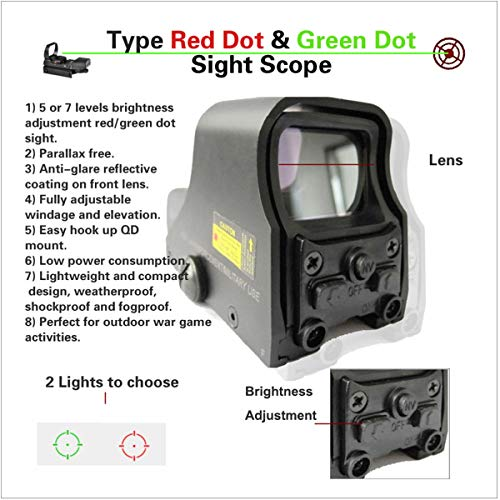 ARWIN Airsoft Gun Sight 2 ARWIN Holographic Red Dot Sight - NV Compatible Reflex Red Green Dot Sight Adjustable Brightness for Shooting Hunting