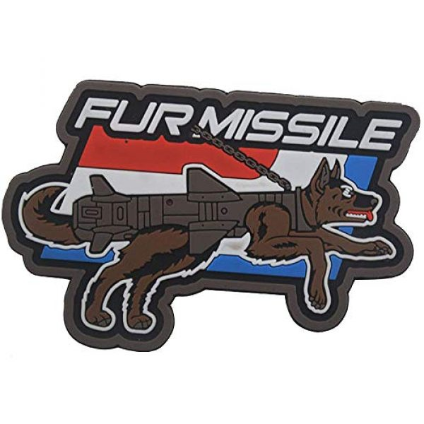 Ansellf Airsoft Patch 1 Fur Missile Morale Patch Dog Tactical Patches Hook Military Badge 3D PVC Fur Missile K9 Dog Badge Police Dog Tactical Harness Vest Airsoft Patches