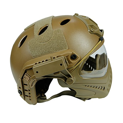 Wildoor Airsoft Helmet 3 Airsoft Tactical Fast PJ Helmet Camouflage with Removable Full Face Mask Goggles for Hunting Shooting Wargame Military