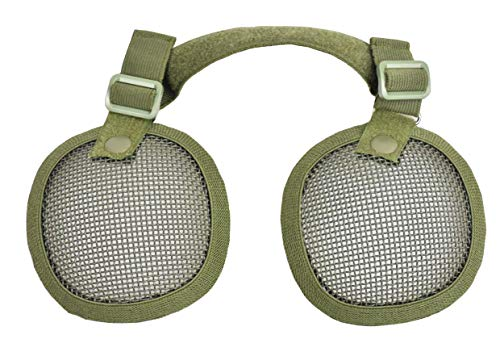 JFFCESTORE Airsoft Helmet 2 Tactical Airsoft Military Paintball Metal Mesh Side Cover with Ear Protection for FAST Helmet (Not including helmet)