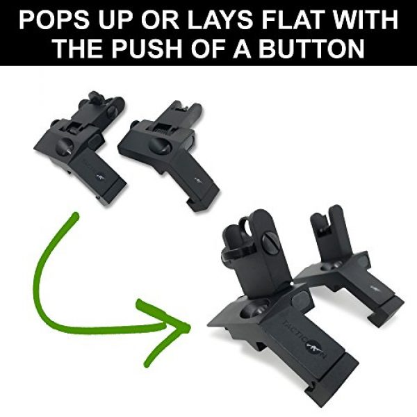 Tacticon Armament Airsoft Gun Sight 5 TACTICON 45 Degree Offset Flip Up Iron Sights for Rifle Includes Front Sight Adjustment Tool | Rapid Transition Backup Front and Rear Iron Sight BUIS Set Picatinny Rail and Weaver Rails