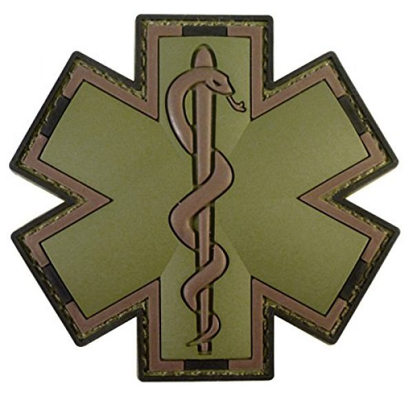 LEGEEON Airsoft Morale Patch 1 LEGEEON Olive Drab Multicam OD EMS EMT Medic Paramedic Star of Life Morale PVC Hook&Loop Patch