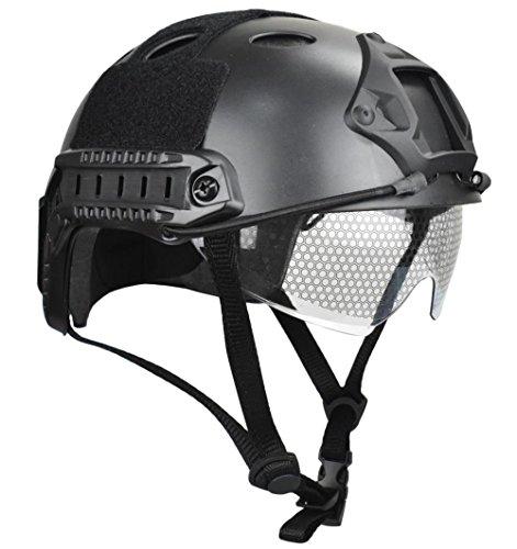 JFFCESTORE Airsoft Helmet 2 JFFCESTORE PJ Type Tactical Multifunctional Fast Helmet and Foldable Adjustable Half Mesh Mask