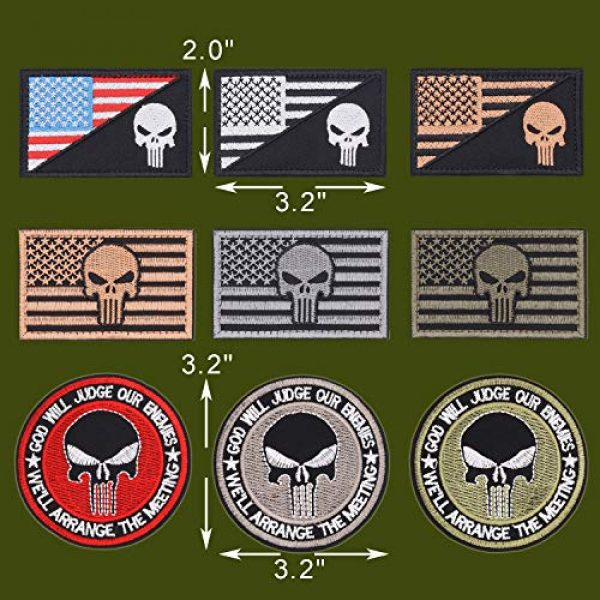 Winrase Airsoft Patch 2 9pcs American Flag Tactical Military Morale Iron on Patches Embroidered Set for Caps, Bags, Backpacks, Tactical Vest, Military Uniforms (Tactical 9pcs)