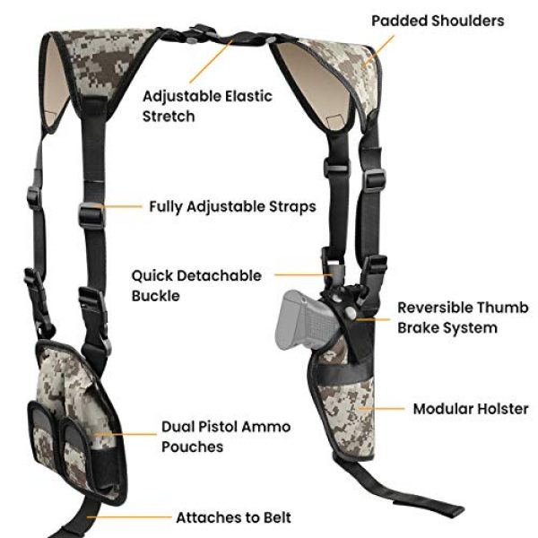 Feyachi  2 Feyachi Universal Shoulder Holster with Dual Mag Pouch Camo Ambidextrous Gun Shoulder Fits Most Pistols & Revolvers for Men and Women