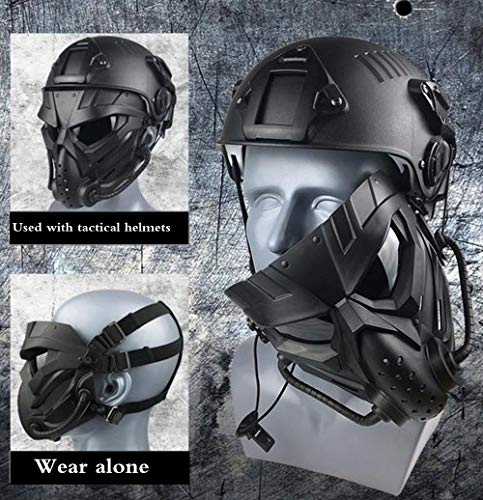 JFFCESTORE Airsoft Mask 4 JFFCESTORE Original Creation Tactical Anti-Fog Airsoft Mask with Clear Lens Protective Full Face mask Dual Mode Wearing Design Adjustable Strap for Airsoft Paintball Cosplay Costume Party Hockey