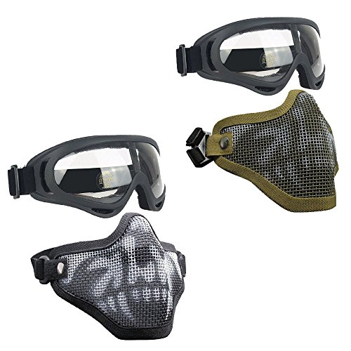Infityle Airsoft Mask 1 Infityle Airsoft Masks - Half Metal Steel Mesh Face Mask Military Style Comfortable Adjustable and UV400 Goggles Set for Hunting