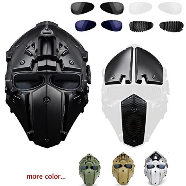 iMeshbean Airsoft Helmet 2 iMeshbean Full Face Protective Mask Tactical Airsoft Helmet with 4 Pairs Visor Goggles for Hunting Paintball Military Cosplay Movie Prop