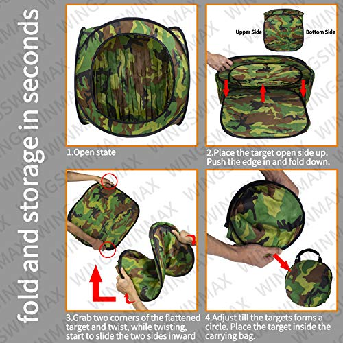 wingswinmax Airsoft Target 4 wingswinmax Foldable Airsoft Target Tent Trap Slingshot BB Trap Net Auto Pop-up Shooting Target Tent BB Target Holder Case