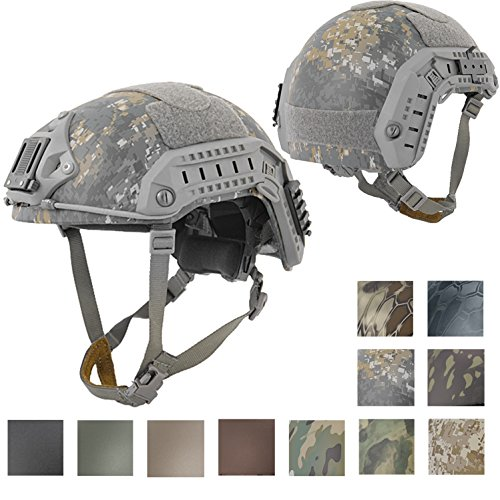 Lancer Tactical Airsoft Helmet 1 Lancer Tactical Medium - Large Industrial ABS Plastic Constructed Maritime Helmet Adjustable Crown 20mm Side Rail Adapter Velcro Padding Stickers NVG Shroud Bungee Retention - Woodland Camouflage