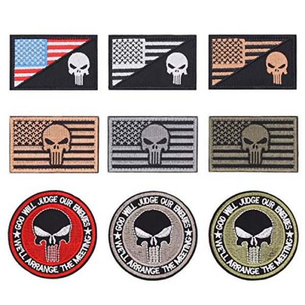 Winrase Airsoft Patch 1 9pcs American Flag Tactical Military Morale Iron on Patches Embroidered Set for Caps, Bags, Backpacks, Tactical Vest, Military Uniforms (Tactical 9pcs)