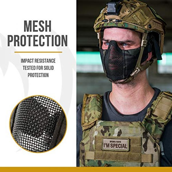 "OneTigris Airsoft Mask 4 OneTigris 6"" Foldable Half Face Mesh Mask Military Style Comfortable Adjustable Tactical Lower Face Protective Mask"