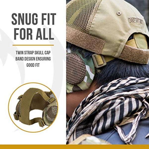 """OneTigris Airsoft Mask 2 OneTigris 6"""" Foldable Half Face Airsoft Mesh Mask with Ear Protection"""