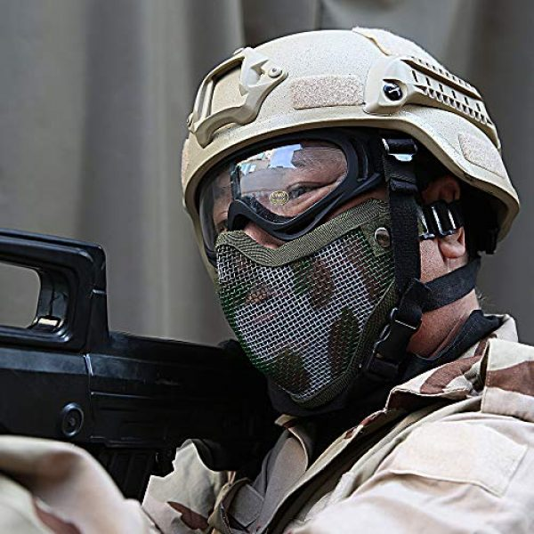 Steel Mesh Half Face Tactical Mask and UV400 Goggles for Halloween Cosplay Xmas Party