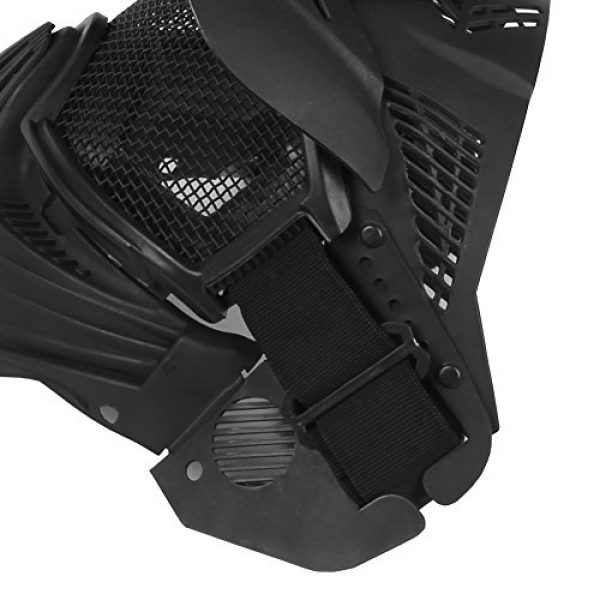 A&N Airsoft Airsoft Mask 7 WoSporT Tactical Transformers Leader Mask Steel Mesh Breathable Full Face Safety CS Field Airsoft Wargame Paintball Army Masks - Black