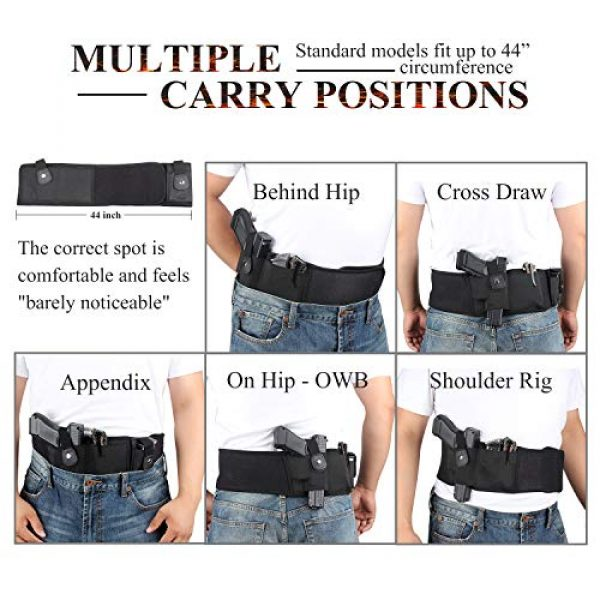 LIVIQILY  3 LIVIQILY Tactical Belly Band Gun Holster Right-Hand Concealed Carry Invisible Elastic Waist Pistol Holster Girdle Belt