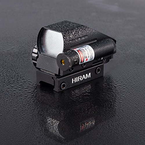 HIRAM Airsoft Gun Sight 7 HIRAM 1x22x33 Holographic Reflex Scope Sight with 4 Reticles Red and Green Dot with Red Laser