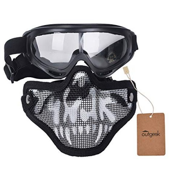 Outgeek Airsoft Mask 5 Outgeek Airsoft Half Face Mask Steel Mesh and Goggles Set