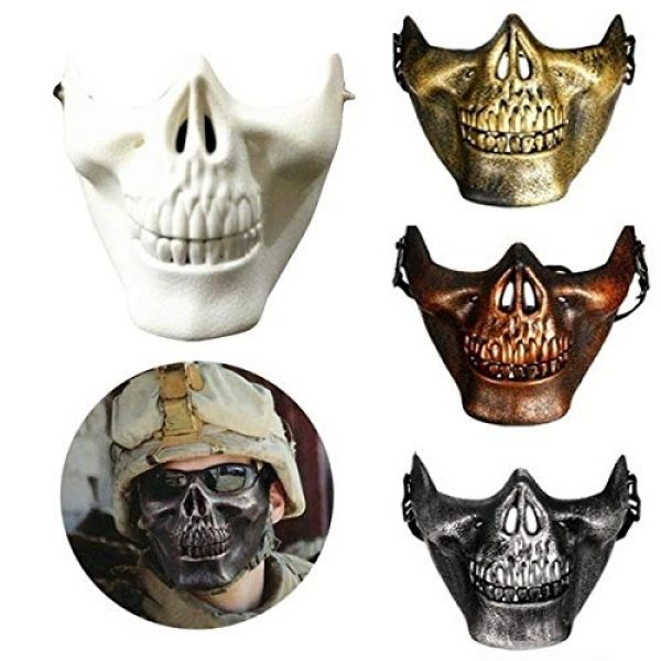 FENGLENG Airsoft Mask 3 FENGLENG Skull Skeleton Half Face Mask Hard Protective Gear Airsoft Paintball Hunting CS Wargame Masquerade Costume Party Halloween etc.