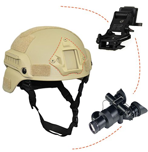 Jadedragon Airsoft Helmet 5 Jadedragon MICH 2000 Style ACH Tactical Helmet with Protect Ear Foldable Double Straps Half Face Mesh Mask & Goggle