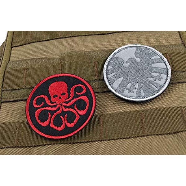 Acbell Airsoft Morale Patch 6 Marvel Comics Tactical Military Morale Embroidered Patch Shield/Avengers/Hydra Cloth Applique Hook and Loop Badge Morale Patch 3 Pieces
