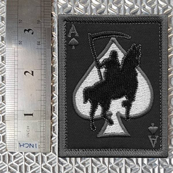 LEGEEON Airsoft Morale Patch 3 LEGEEON ACU Subdued Ace of Spades Grim Reaper Death Card Morale Tactical Skull Skeleton Sew Iron on Patch