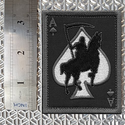 LEGEEON Airsoft Patch 3 LEGEEON ACU Subdued Ace of Spades Grim Reaper Death Card Morale Tactical Skull Skeleton Fastener Patch