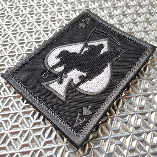 LEGEEON Airsoft Patch 2 LEGEEON ACU Subdued Ace of Spades Grim Reaper Death Card Morale Tactical Skull Skeleton Fastener Patch