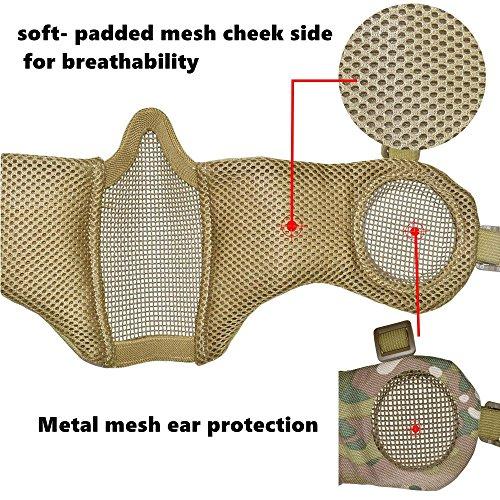 Jadedragon Airsoft Helmet 6 Jadedragon PJ Tactical Fast Helmet & Protect Ear Foldable Double Straps Half Face Mesh Mask & Goggle