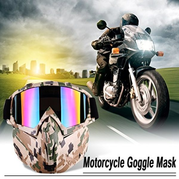 Outamateur Airsoft Mask 3 Outamateur Motorcycle Goggles Mask - Tactical Glasses with Detachable Mask Adjustable Windproof Outdoor Paintball Airsoft Mask Face Shield for Kids Youth Men Women
