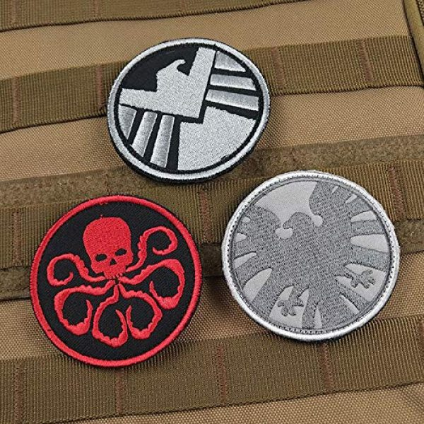 Acbell Airsoft Morale Patch 3 Marvel Comics Tactical Military Morale Embroidered Patch Shield/Avengers/Hydra Cloth Applique Hook and Loop Badge Morale Patch 3 Pieces