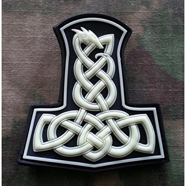 Jackets-to-Go Airsoft Patch 2 Dragon Thors Hammer Airsoft Patch, GID (Glow in The Dark) 3D Rubber