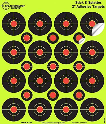 Splatterburst Targets Airsoft Target 2 Splatterburst Targets - 2 inch Stick & Splatter Reactive Self Adhesive Shooting Targets - Gun - Rifle - Pistol - Airsoft - BB Gun - Pellet Gun - Air Rifle