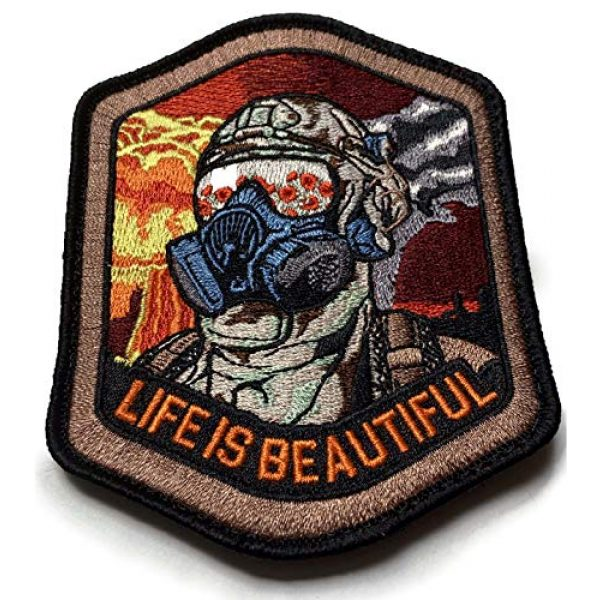 F-Bomb Morale Gear Airsoft Morale Patch 2 Life is Beautiful - Field of Poppies Reflected in M5O CBRN Gas Mask - Tactical Morale Patch with Hook-Fastener Backing