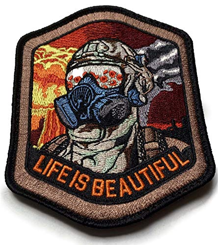 F-Bomb Morale Gear Airsoft Patch 2 Life is Beautiful - Field of Poppies Reflected in M5O CBRN Gas Mask - Tactical Morale Patch with Hook-Fastener Backing